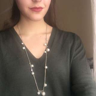 J Crew Long Pearl And Pave Necklace