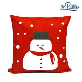 Sarung Bantal Sofa 45x45 soft canvas White Snowman