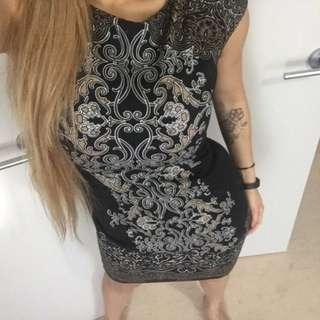 Black Pattern Office Bodycon Dress