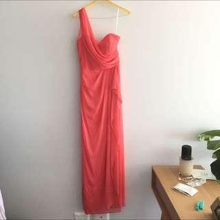 One Shoulder Coral Formal Dress