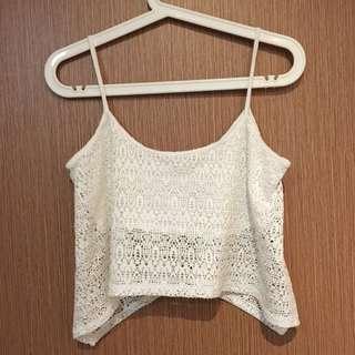 Bershka Mesh Crochet Crop Top M