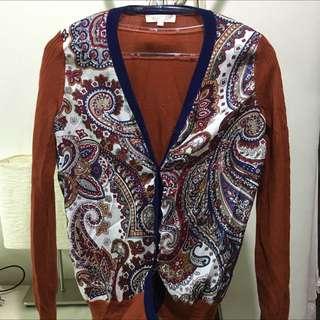 磚紅 復古拼接 針織外套 羊毛混紡 變形蟲 二手 古著 近全新