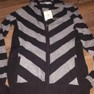 Black and gray medium stripe zip up hoodie