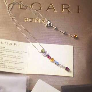 🎐 ORIGINAL - 18K - BVLGARI - WHITE GOLD - DIAMOND & MULTI-GEM - NECKLACE 🎐