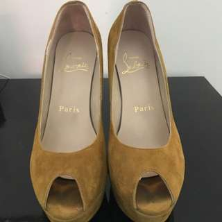 Authentic Suede Leather Peep Toe Pump Shoe