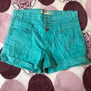 COTTON ON teal blue highwaist shorts