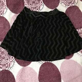 JEANNA CHARLOTTE black zigzag velvet skirt