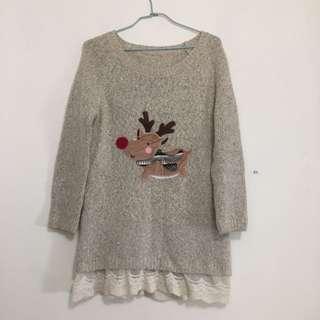 🚚 🎄耶誕麋鹿長版毛衣