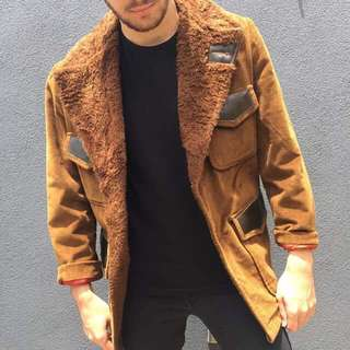 Vintage Brown Faux Fur Lining Jacket
