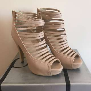 Pulp Nude Strappy Heels Size 7