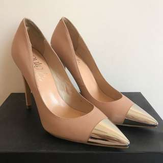 Pulp Nude Stiletto Pointed Heels With Silver Caps