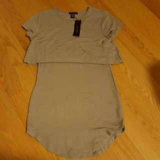 Small Short Taupe Fitted Dress