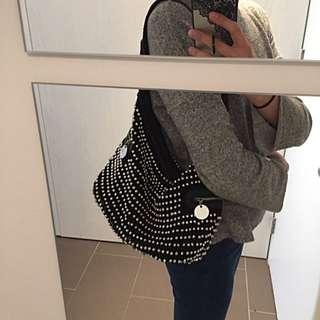 Mocha Beaded Shoulder Bag