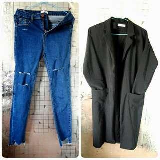 藍色牛仔刷破褲&黑色厚雪紡西裝長版外套 #三百元外套