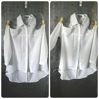 白色雪紡削肩長袖前短後長上衣