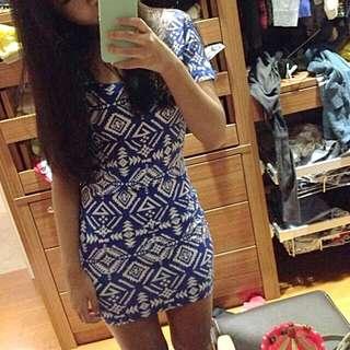 Blue Aztec Bodycon Dress