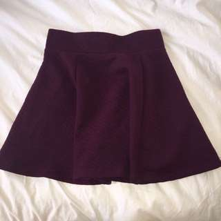Maroon Quilted Skater Skirt