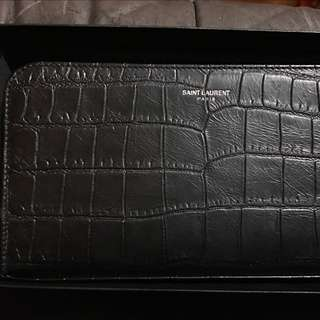 Saint Laurent Classic Long Croco Embossed Leather Wallet