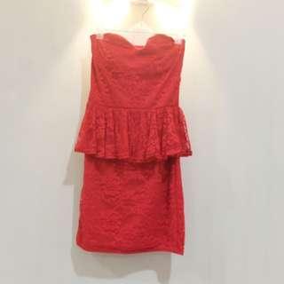 Red Peplum Dress (kemben)