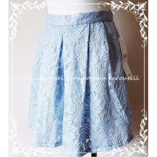 專櫃全新!GU Elegant Lace Pants Skirt 淺藍優雅蕾絲褲裙