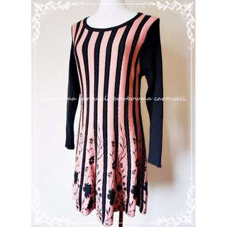 全新!Extra Fine Cashmere Striped Knit dress 高質感極細羊毛針織洋裝