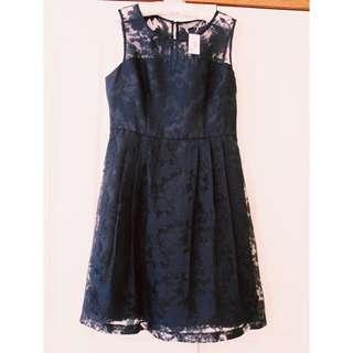 Jacqui E Navy A-line Dress