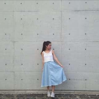 🚚 抽鬚牛仔淺藍長裙