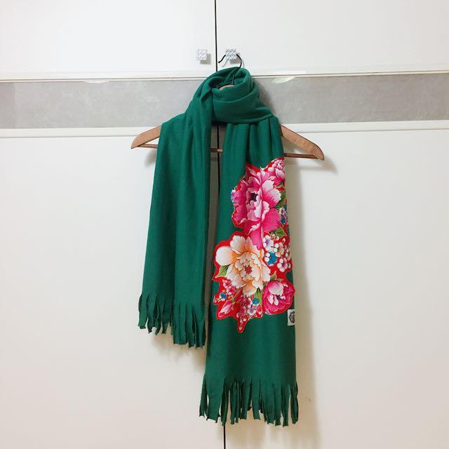 二手綠色設計感客家花布圍巾