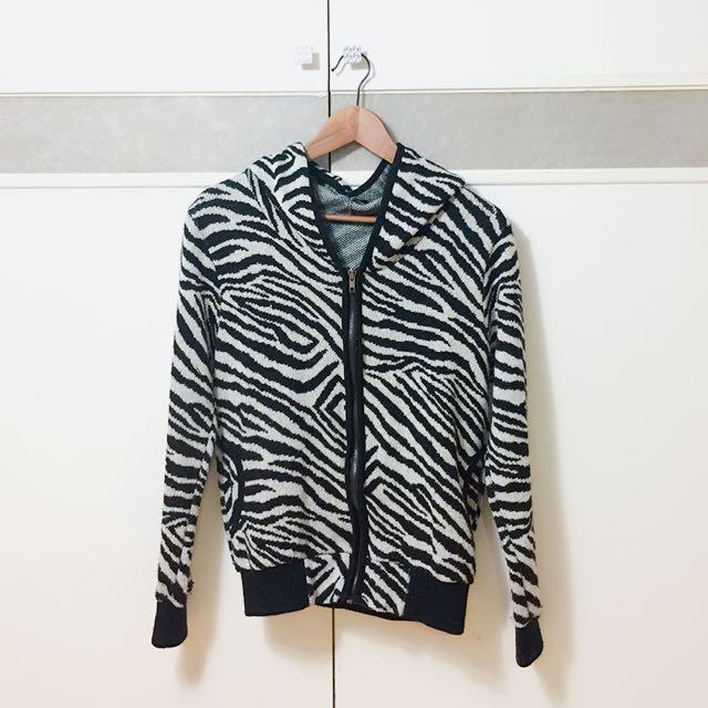 二手斑馬紋針織毛衣外套