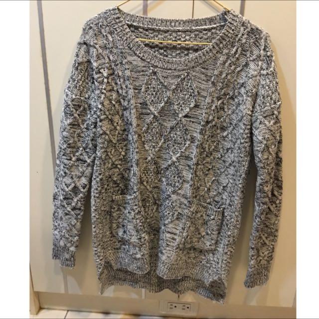 暖暖灰針織毛衣