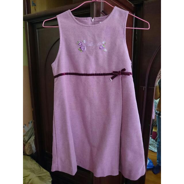 【童裝】紫紅玫瑰刺繡洋裝