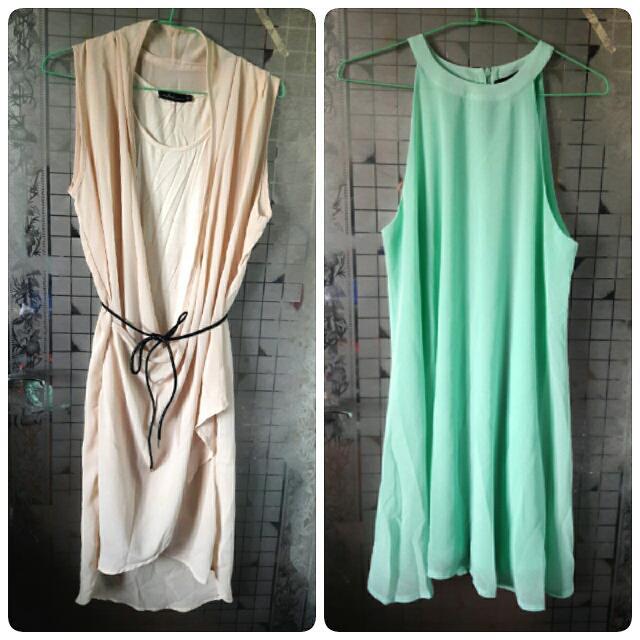 米色雪紡假兩件式洋裝&湖水綠削肩洋裝