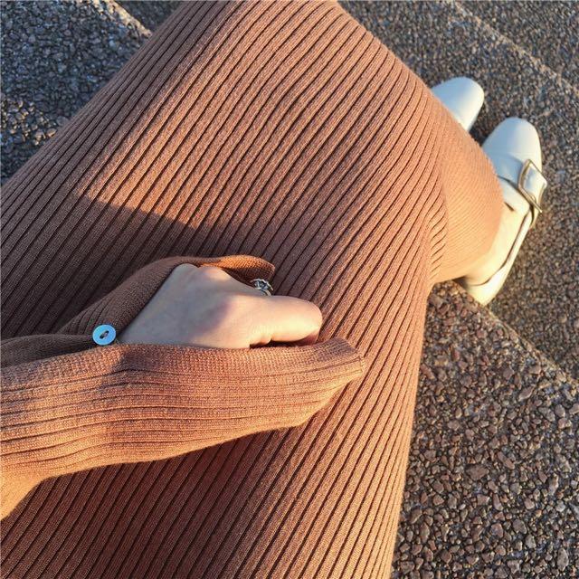 袖口開衩針織裙/駝色XS現貨一