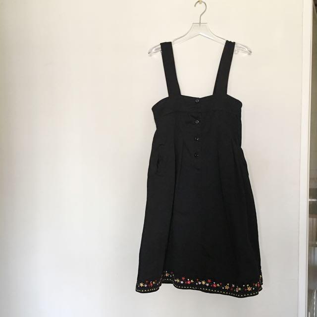 (保留)古著 刺繡花邊吊帶裙