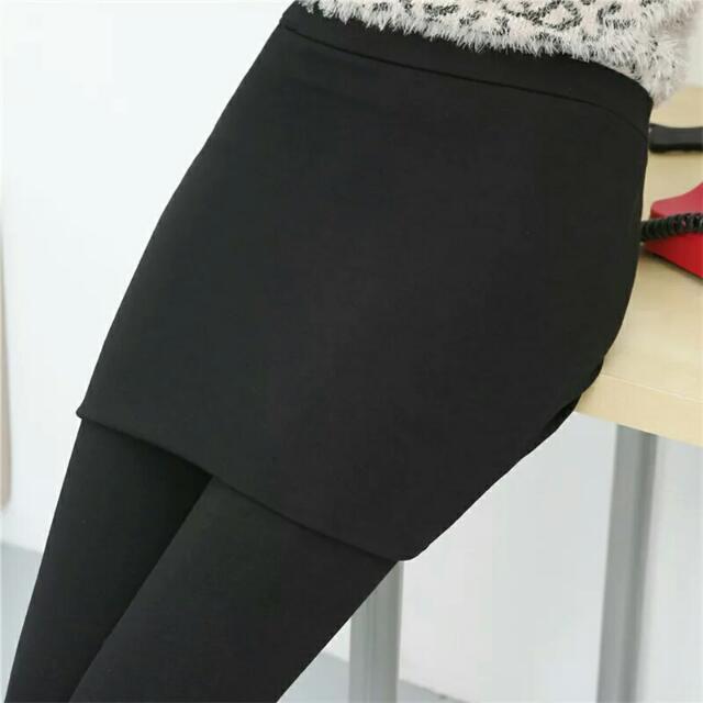 #女裝五折出清  全新 加絨加厚 假兩件內搭褲 黑色