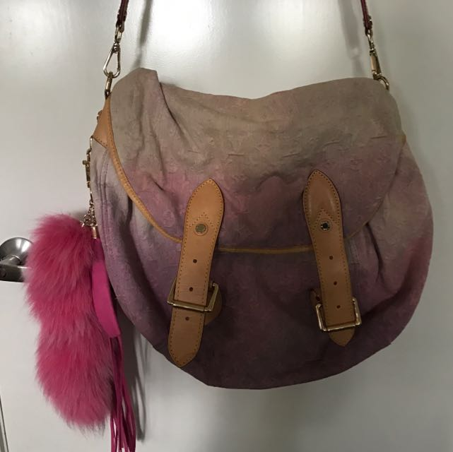 Authentic Leather Trim Large Hobo Bag Worn By Victoria B