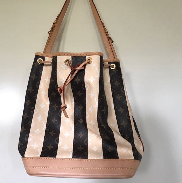 Authentic Leather Trims And Canvas Barrel Style Shoulder Bag