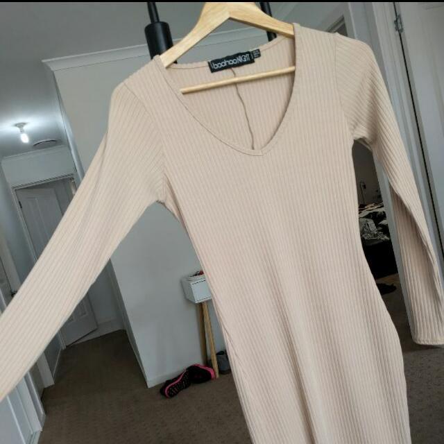 Beige Thigh Split Midi Dress 10 Ribbed Stretch Long Sleeve Boohoo