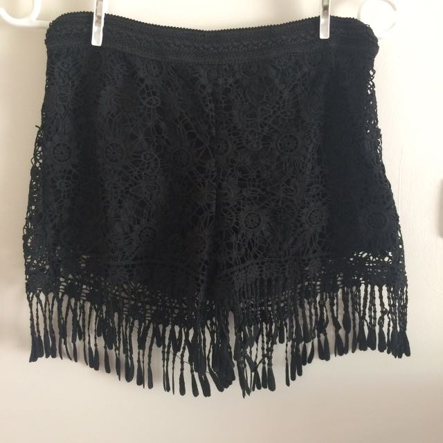 Black lace fringe shorts
