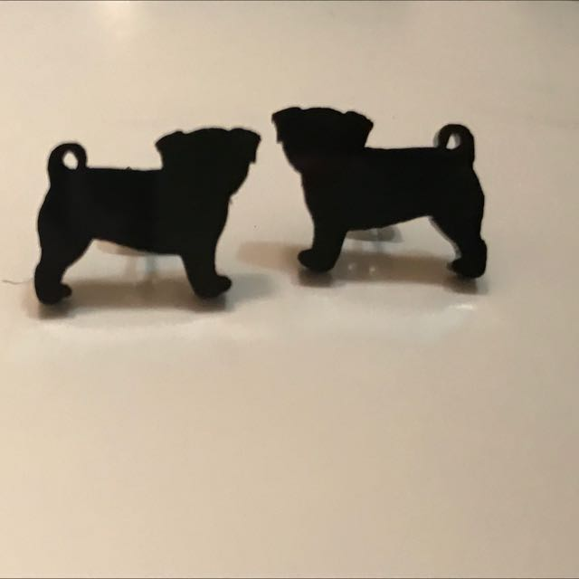 Black Pug Earrings- Studs