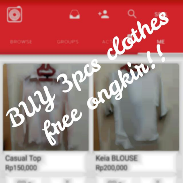 Buy 3pcs Clothes Get Free Ongkir!!