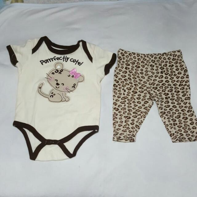 RESERVED Cat Onesie And Leggings (3-6 Months)