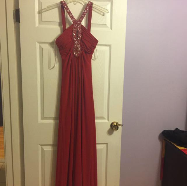 Long Red Laura Dress