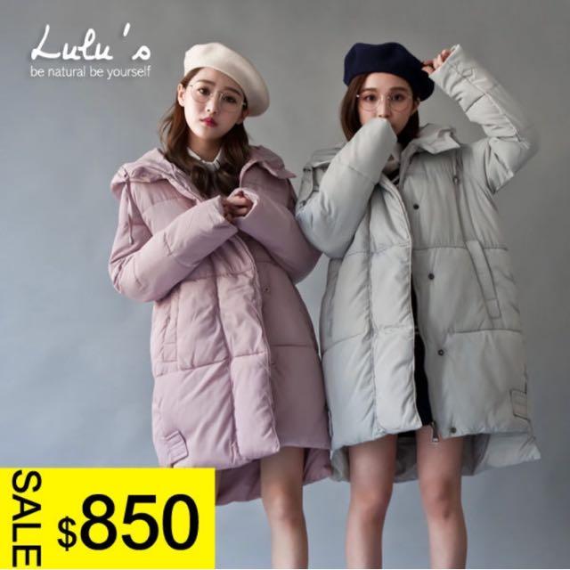 LULUS 連帽長版鋪棉外套 粉