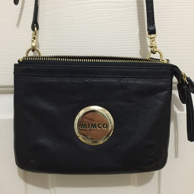 Mimco Secret Pouch Bag Black (Matte) And Gold