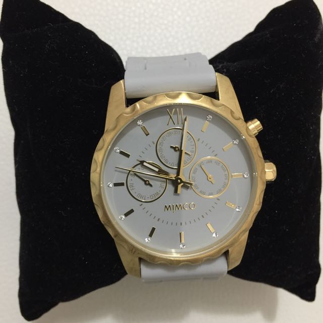 Mimco Timepiece Watch White And Gold