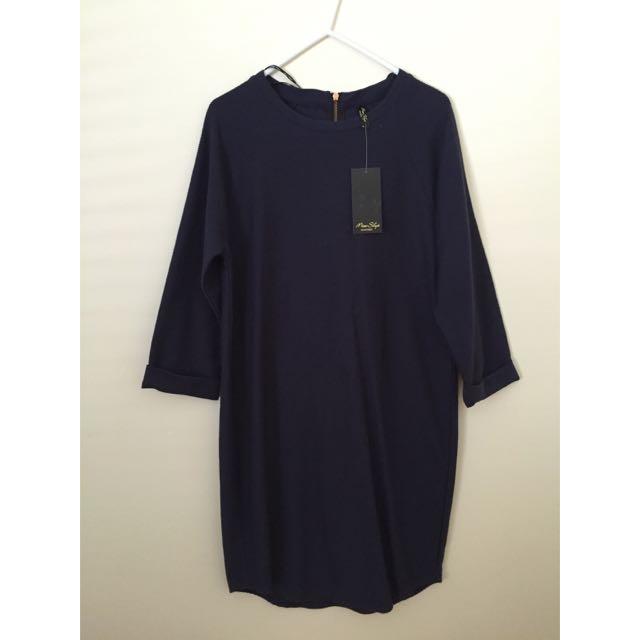 Navy 3/4 Sleeved Dress