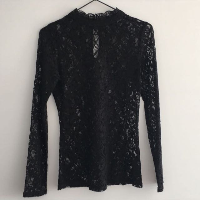Oasis Long Sleeve Lace Black Top