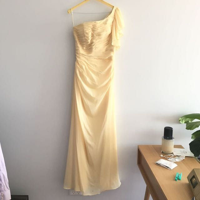 One Shoulder Light Yellow Formal Dress