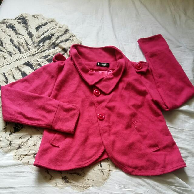 Pink Crop Winter Coat